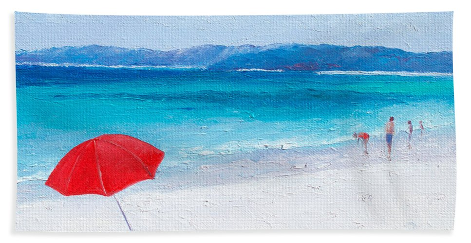 Beach Bath Towel featuring the painting Beach Paddling by Jan Matson