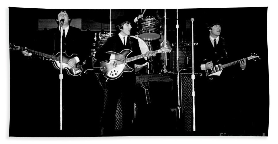Beatles Bath Towel featuring the photograph Beatles In Concert 1964 by Larry Mulvehill