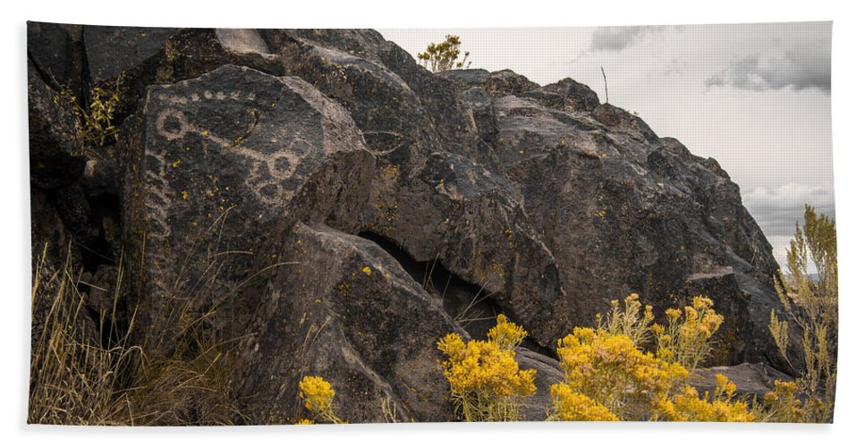 Lava Hand Towel featuring the photograph Belfast Petroglyphs by Michele James