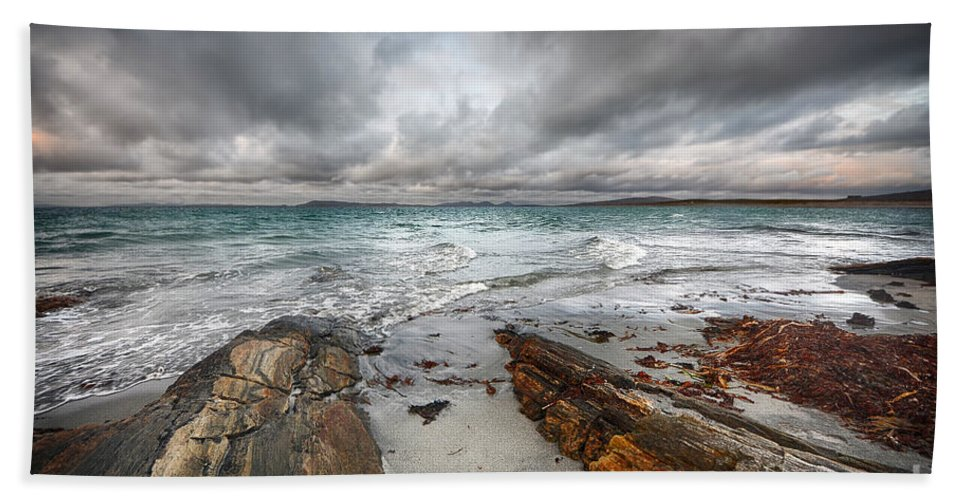 Berneray Bath Towel featuring the photograph Berneray Views by Smart Aviation