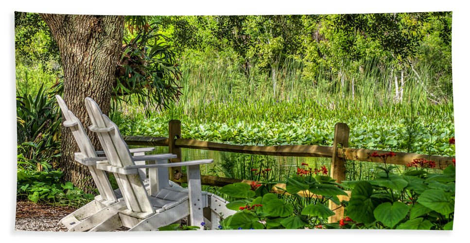 Florida Bath Sheet featuring the photograph Beside The Pond by Jane Luxton