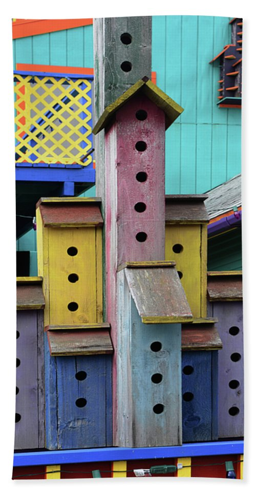 Birdhouse Hand Towel featuring the photograph Birdhouses For Colorful Birds 3 by Bob Christopher