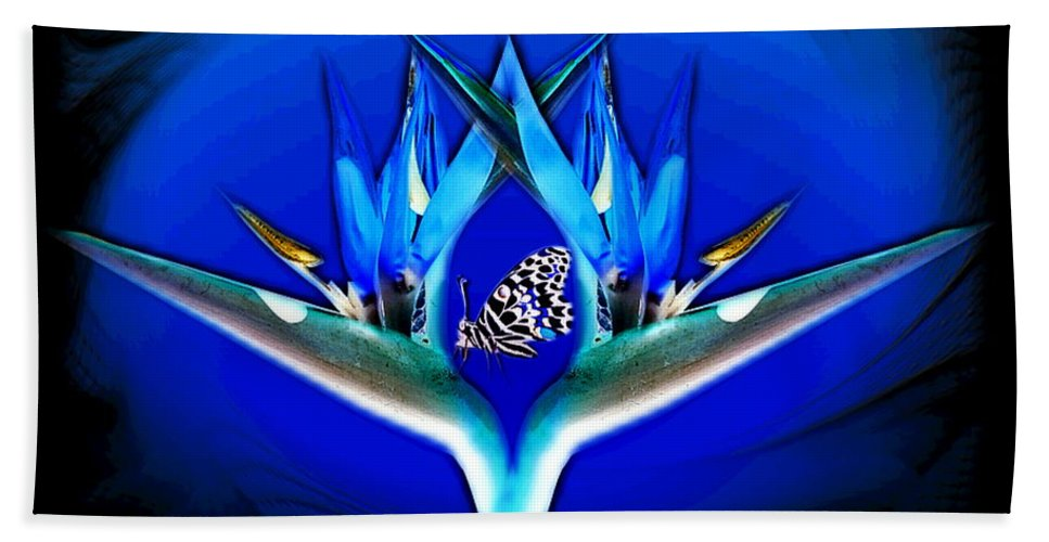 Bird Of Paradise Hand Towel featuring the digital art Blue Bird Of Paradise by Joyce Dickens