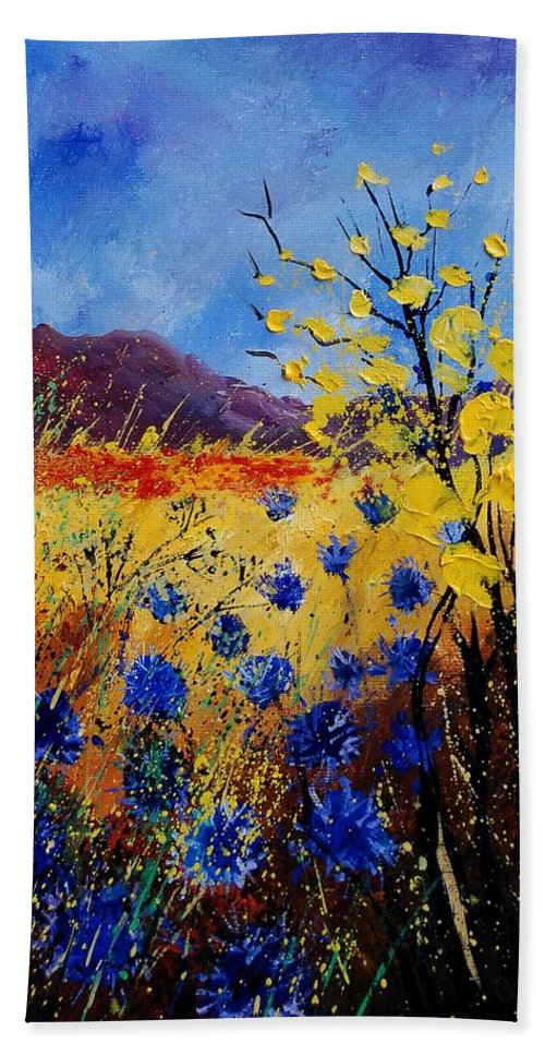 Poppies Flowers Floral Bath Sheet featuring the painting Blue Cornflowers by Pol Ledent
