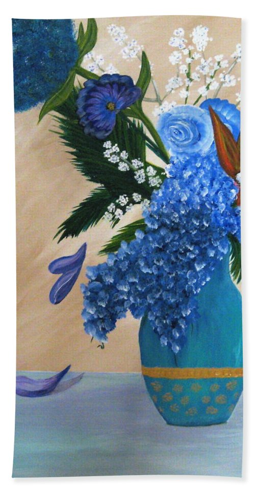 Flowers Hand Towel featuring the painting Blue Passion by Debbie Levene