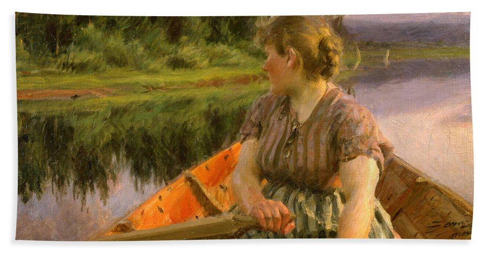 Anders Zorn Bath Sheet featuring the painting Boating by Anders Zorn