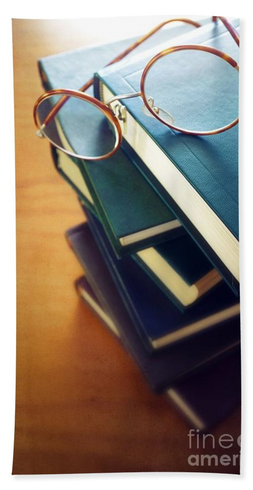 Antique Bath Sheet featuring the photograph Books And Glasses by Carlos Caetano