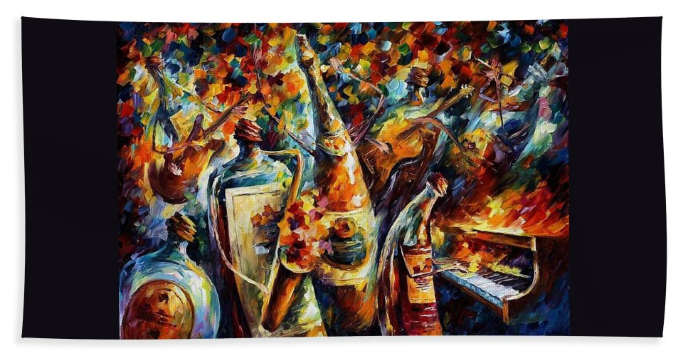 Afremov Hand Towel featuring the painting Bottle Jazz by Leonid Afremov