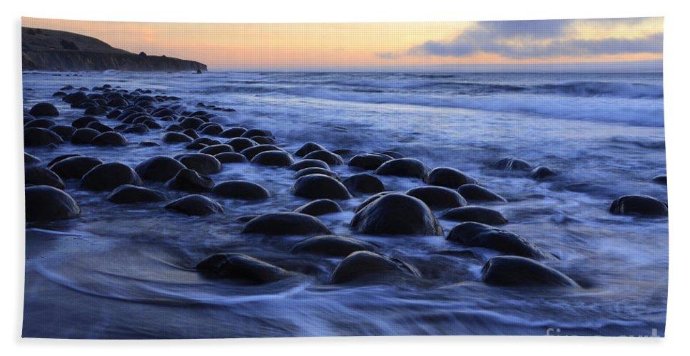 Bowling Ball Beach Bath Sheet featuring the photograph Bowling Ball Beach by Bob Christopher