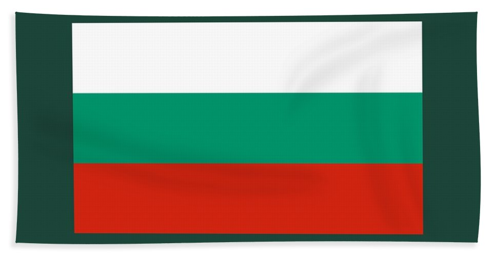 Banner Hand Towel featuring the digital art Bulgaria Flag by Frederick Holiday