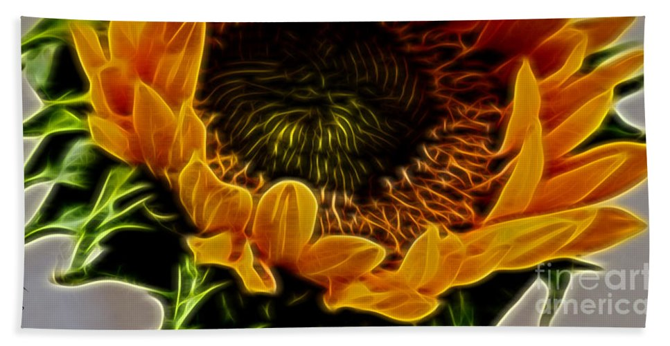 Sunflower Hand Towel featuring the photograph Burning Sun.. by Margaux Dreamaginations