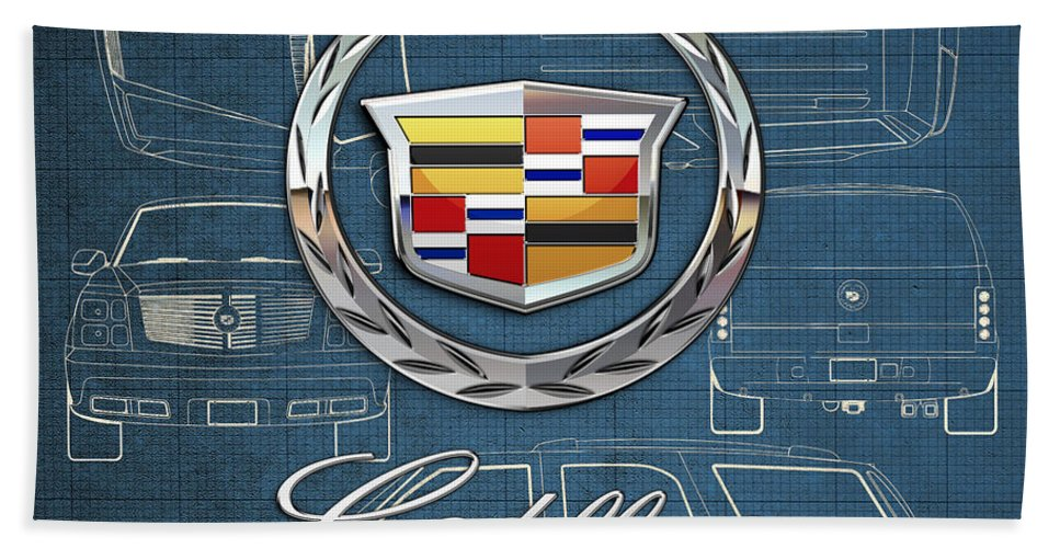'wheels Of Fortune' By Serge Averbukh Bath Towel featuring the photograph Cadillac 3 D Badge over Cadillac Escalade Blueprint by Serge Averbukh