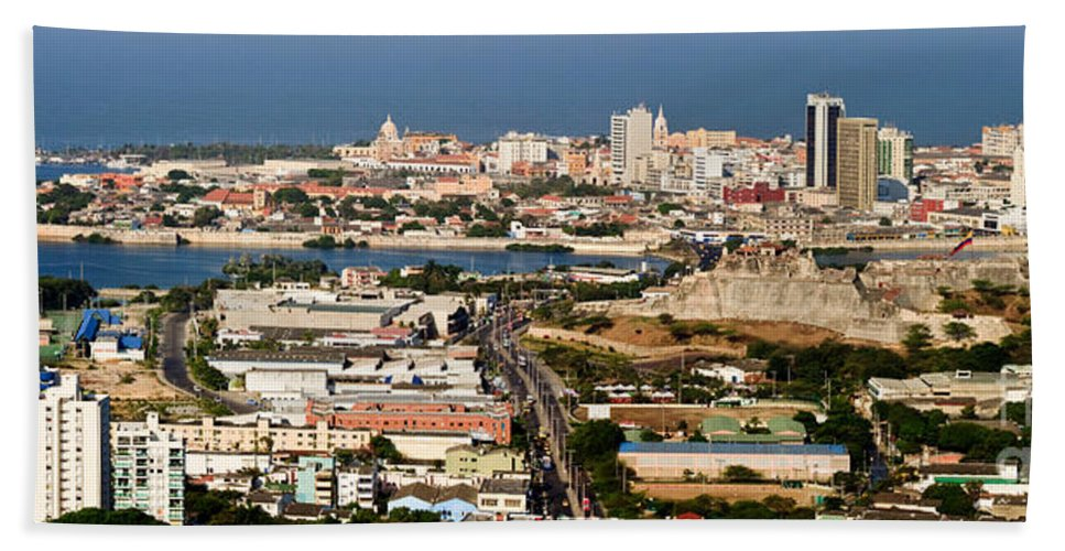 Cartegena Hand Towel featuring the photograph Cartegena Colombia by Thomas Marchessault