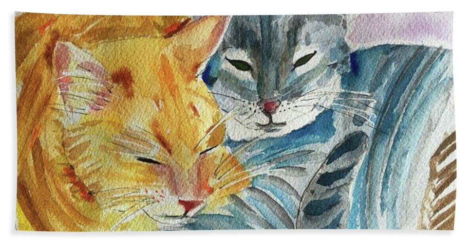 Cat Bath Sheet featuring the painting Kitty And Kat by Bonny Butler