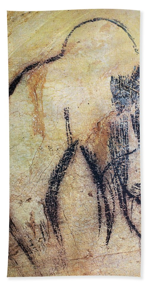 15000 Bath Sheet featuring the photograph Cave Art: Mammoth by Granger