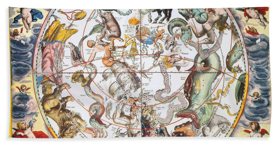 1660 Hand Towel featuring the photograph Celestial Planisphere, 1660 by Granger