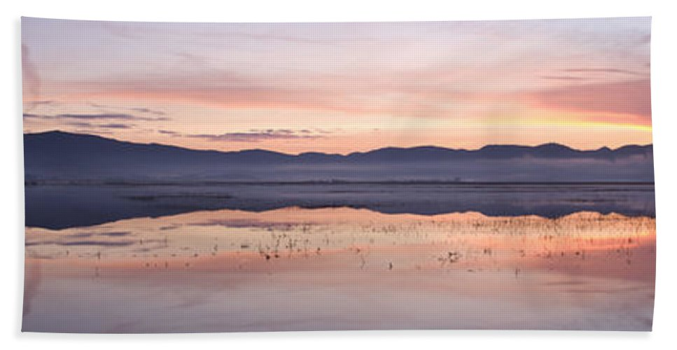 Lake Hand Towel featuring the photograph Cerknica Lake At Dawn by Ian Middleton