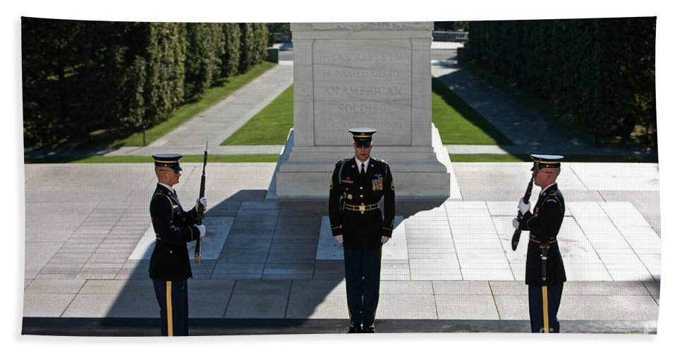 Horizontal Bath Sheet featuring the photograph Changing Of Guard At Arlington National by Terry Moore