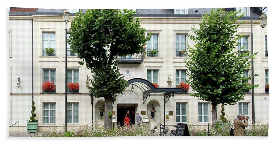 Chantilly Bath Sheet featuring the digital art Chantilly France Street Scenes by Carol Ailles
