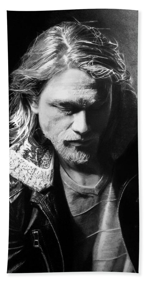 Charlie Hunnam Jackson 'jax' Teller Sons Of Anarchy Pencil Black And White Portrait Fan Art Bath Sheet featuring the drawing Charlie Hunnam by Stan Antonio