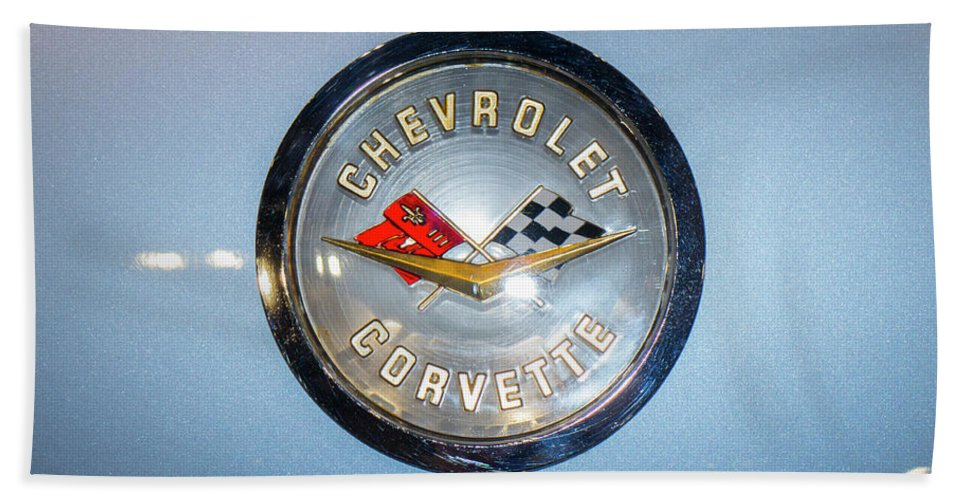 Chevrolet Corvette Bath Sheet featuring the photograph Chevrolet Corvette Badge by Peter Lloyd