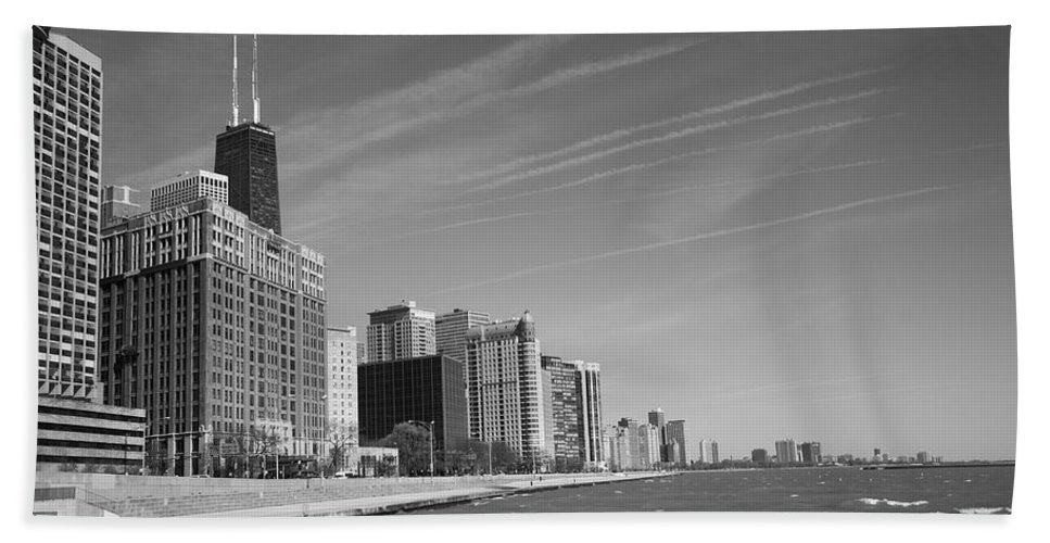America Hand Towel featuring the photograph Chicago Skyline And Beach by Frank Romeo