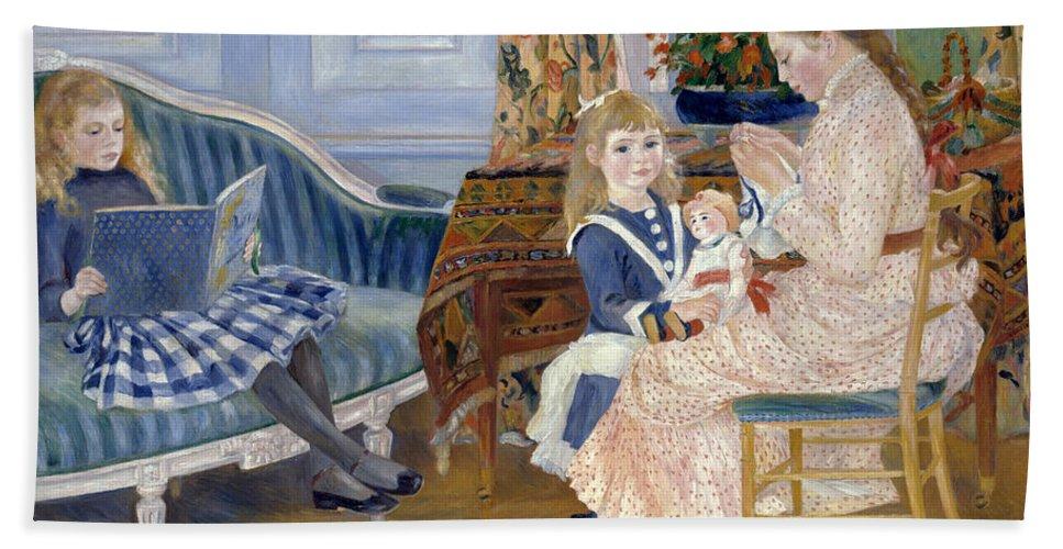 Pierre-auguste Renoir Bath Sheet featuring the painting Children's Afternoon At Wargemont by Pierre-Auguste Renoir