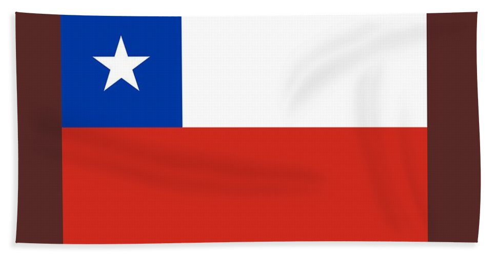 Banner Hand Towel featuring the digital art Chile Flag by Frederick Holiday