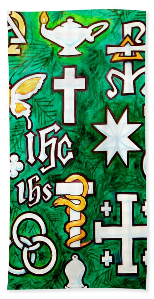 Chrismons Hand Towel featuring the painting Chrismons by Kevin Middleton
