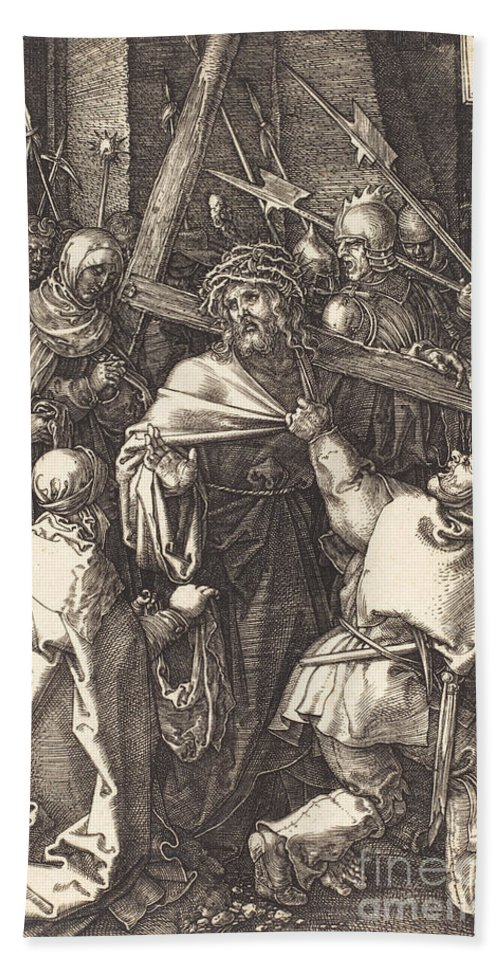 Hand Towel featuring the drawing Christ Carrying The Cross by Albrecht D?rer