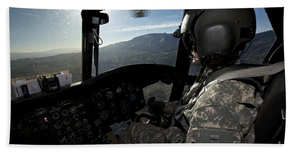 Exercise Angel Thunder Bath Sheet featuring the photograph Co-pilot Flying A Ch-47 Chinook by Terry Moore