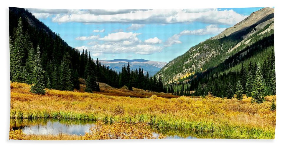 Landscape Bath Sheet featuring the photograph Colorado Mountain Lake In Fall by Amy McDaniel