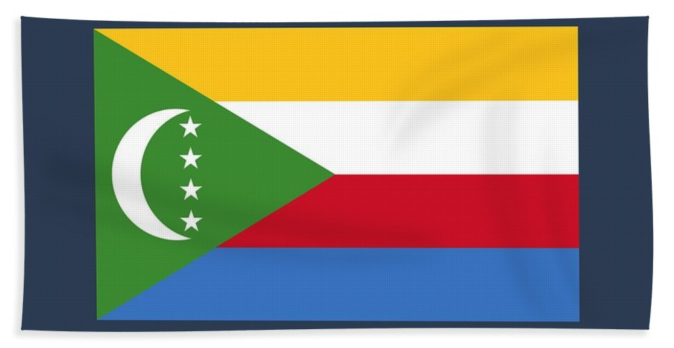 Banner Bath Sheet featuring the digital art Comoros Flag by Frederick Holiday