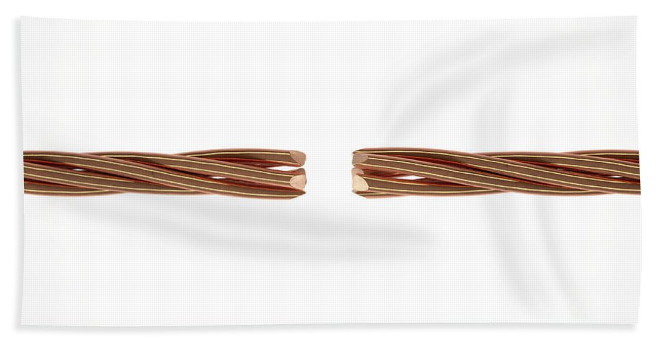 Copper Bath Towel featuring the digital art Copper Wire Strands Disconnected by Allan Swart