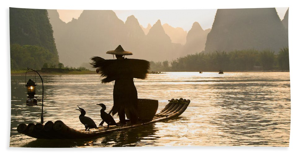 Asia Bath Towel featuring the photograph Cormorant Fisherman on the Li River by Michele Burgess
