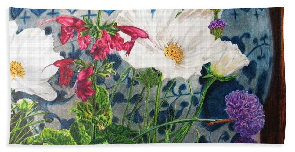 Flowers Bath Sheet featuring the painting Cosmos by Karen Ilari