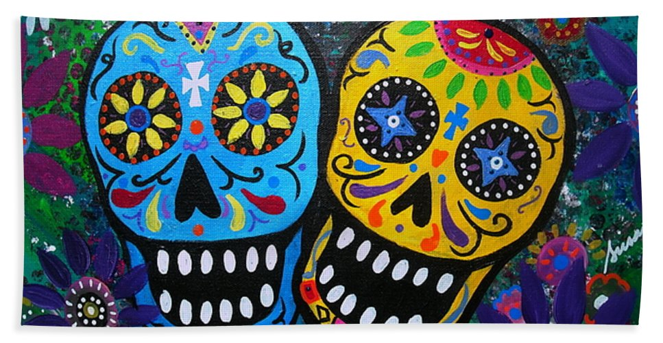 Day Of The Dead Bath Sheet featuring the painting Couple Day Of The Dead by Pristine Cartera Turkus
