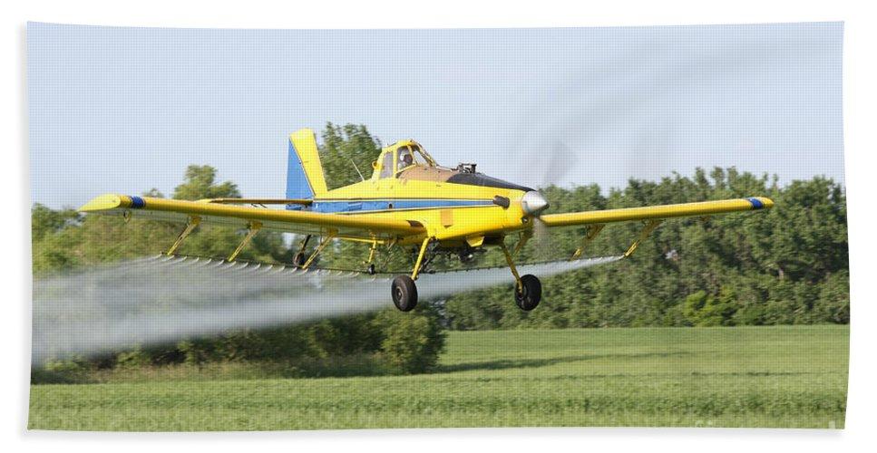 Plane Bath Sheet featuring the photograph Crop Dusting Plane by Lori Tordsen