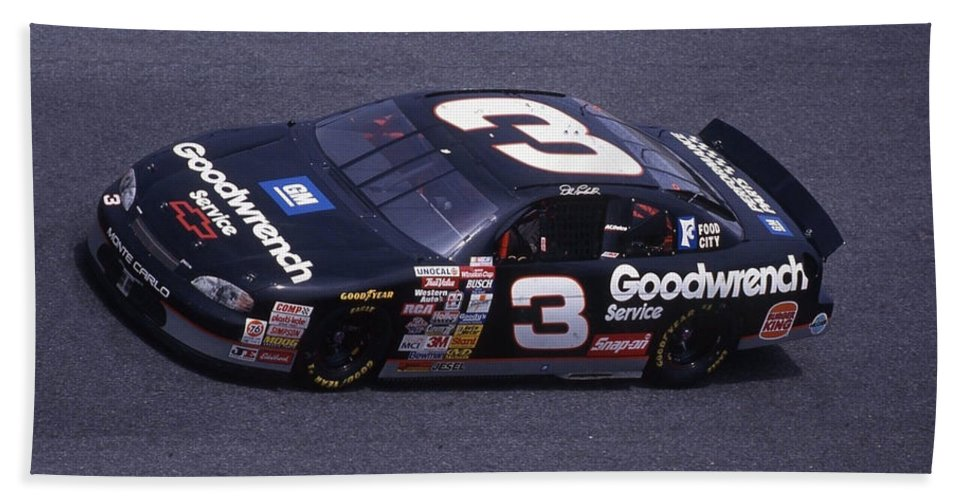 Dale Earnhardt Bath Sheet featuring the photograph Dale Earnhardt # 3 Goodwrench Chevrolet At Daytona by David Bryant