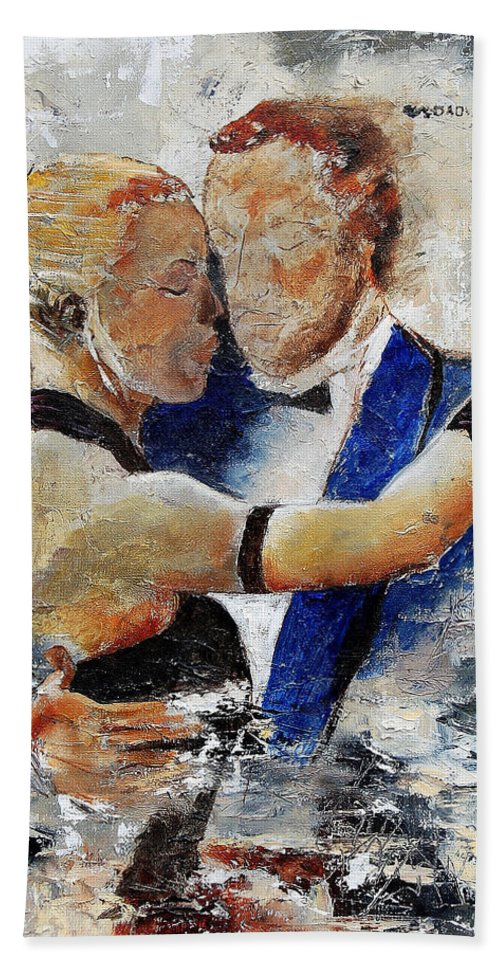 Dance Hand Towel featuring the painting Dancing Tango by Pol Ledent