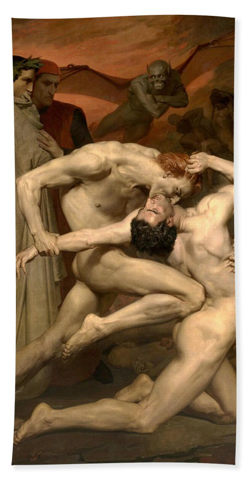 William-adolphe Bouguereau Hand Towel featuring the painting Dante And Virgil In Hell by William-Adolphe Bouguereau