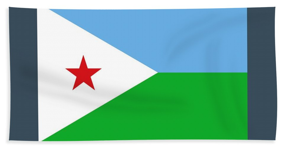 Flag Hand Towel featuring the digital art Djibouti Flag by Frederick Holiday