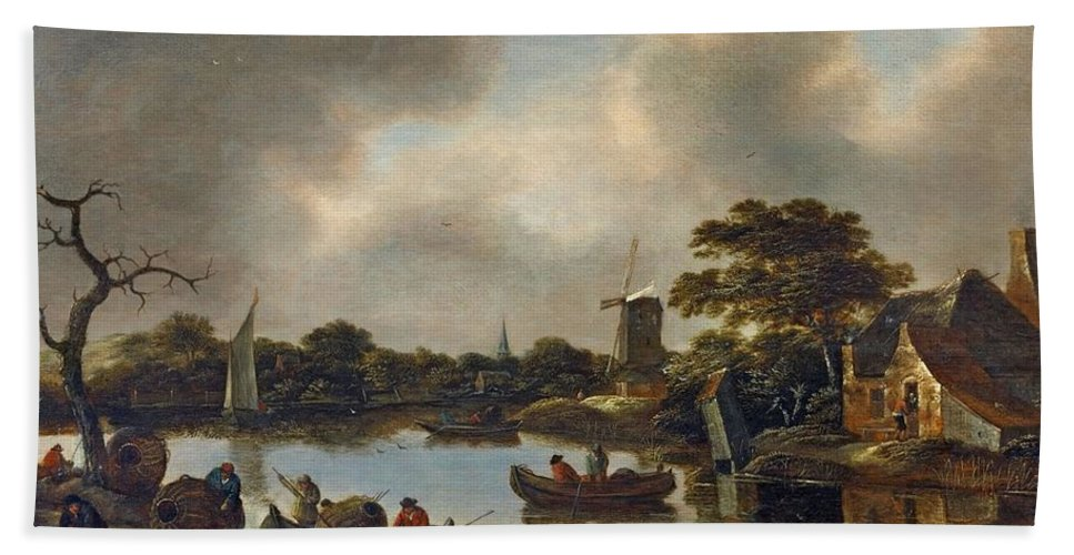 Claes Molenaer Bath Sheet featuring the painting Dutch Landscape With Fishers by MotionAge Designs