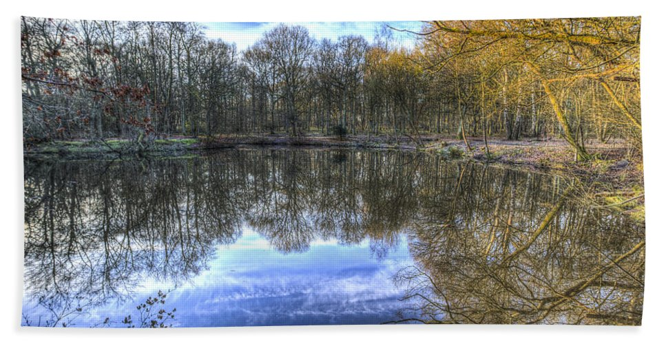 Frost Hand Towel featuring the photograph Early Morning Forest Pond by David Pyatt