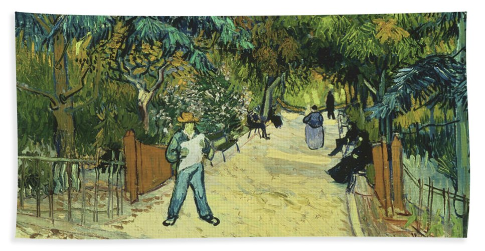 Vincent Van Gogh Bath Sheet featuring the painting Entrance To The Public Gardens In Arle by Vincent van Gogh