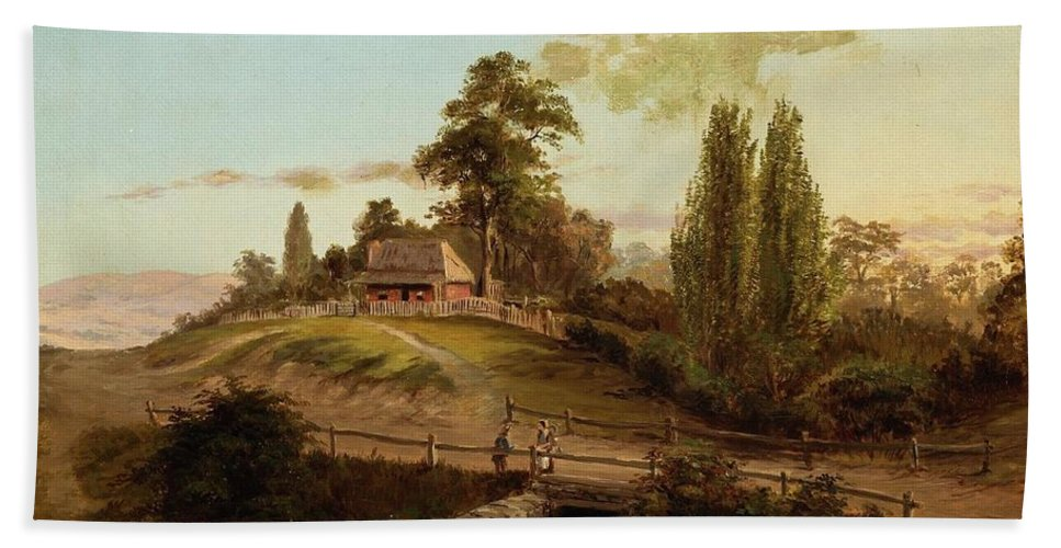 Louis Buvelot - Evening Bath Sheet featuring the painting Evening by Louis Buvelot