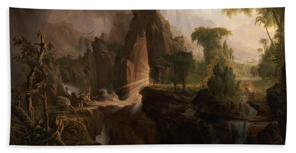 Expulsion From The Garden Of Eden By Thomas Cole Hand Towel featuring the painting Expulsion From The Garden Of Eden by Thomas Cole