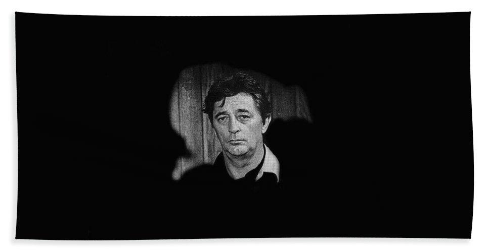 Film Noir The King Of Noir Robert Mitchum Young Billy Young Set Old Tucson Arizona 1968 Hand Towel featuring the photograph Film Noir The King Of Noir Robert Mitchum Young Billy Young Set Old Tucson Arizona 1968 by David Lee Guss