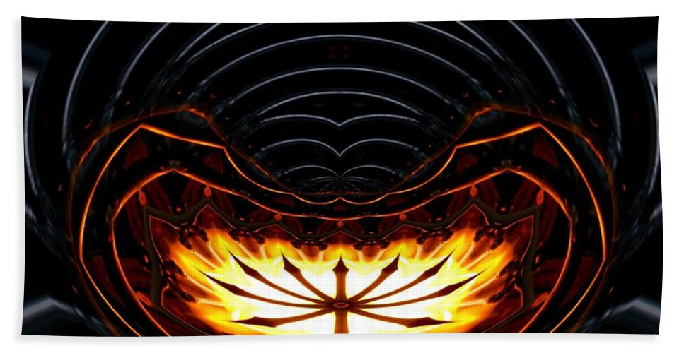 Fire Bath Sheet featuring the photograph Fire Polar Coordinates Effect by Rose Santuci-Sofranko