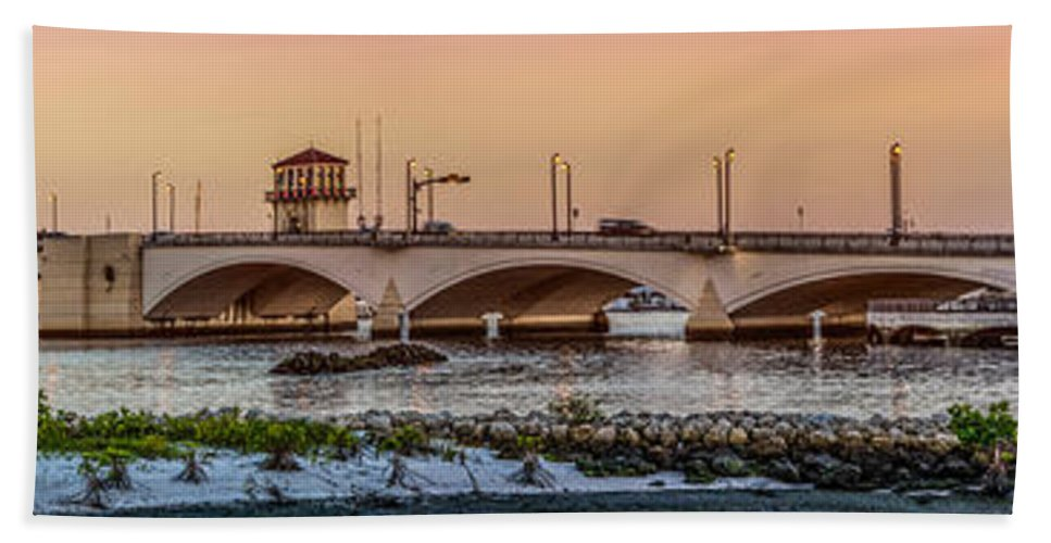 Boats Bath Sheet featuring the photograph Flagler Bridge In Lights Panorama by Debra and Dave Vanderlaan